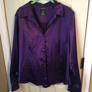 Silky purple button down